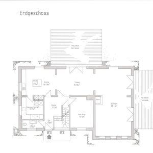 Reetdach Haus Föhr Oldsum Sylt Amrum Grundriss Erdgeschoss Wohnen Kamin Essen Küche Schlafzimmer Hauswirtschaftsraum