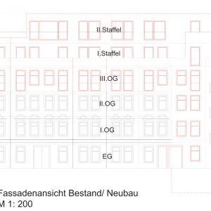Mehrfamilienhaus Zinshaus Hamburg Altona Projektentwicklung Eigentumswohnungen Umbau Sanierung Dachausbau Neubau Altbau Fassadenansicht