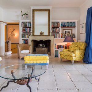 Villa Les Parcs de Saint-Tropez Cote d`Azur Meerblick Wohnzimmer Kamin