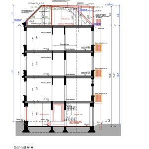 Mehrfamilienhaus Zinshaus Denkmalschutz Hamburg Ottensen Projektentwicklung Eigentumswohnungen Sanierung Dachausbau Historische Fassade Umbau Schnitt
