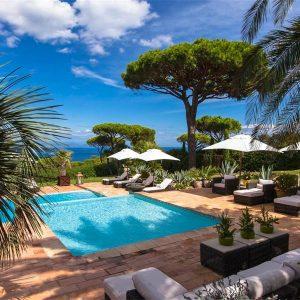 Villa Cote d`Azur Saint-Tropez Ramtuelle Meerblick Pampelonne Terrasse Lounge Pool Meerblick