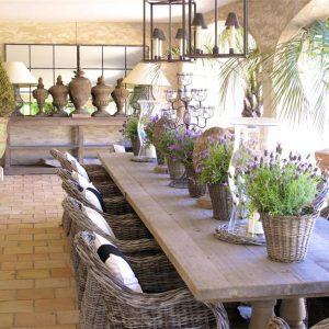 Villa Cote d`Azur Saint-Tropez Ramtuelle Meerblick Pampelonne Terrasse Esszimmer Sommerküche