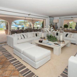 Villa Cote d`Azur Saint-Tropez Ramtuelle Meerblick Pampelonne Terrasse Wohnzimmer