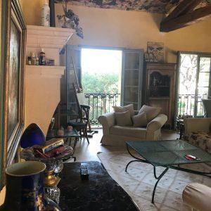 Villa Saint-Tropez Cote d`Azur Meerblick Parc des Salins Bastide Charmantes Haus Wohnzimmer Kamin