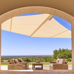 Mallorca Villa ALQUERIA BLANCA - NEUBAUFINCA MEERBLICK Lounge Terrasse Panorama