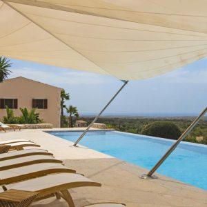 Mallorca Villa ALQUERIA BLANCA - NEUBAUFINCA MEERBLICK Pool Ausblick